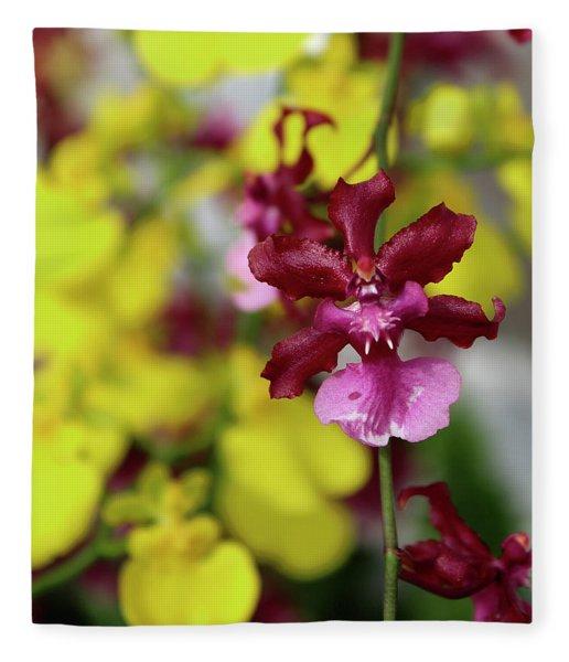 Maroon And Yellow Orchid Fleece Blanket