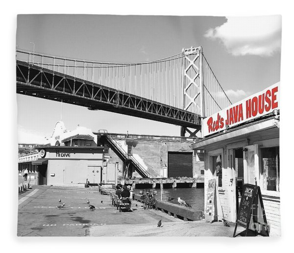 Reds Java House And The Bay Bridge In San Francisco Embarcadero . Black And White And Red Fleece Blanket
