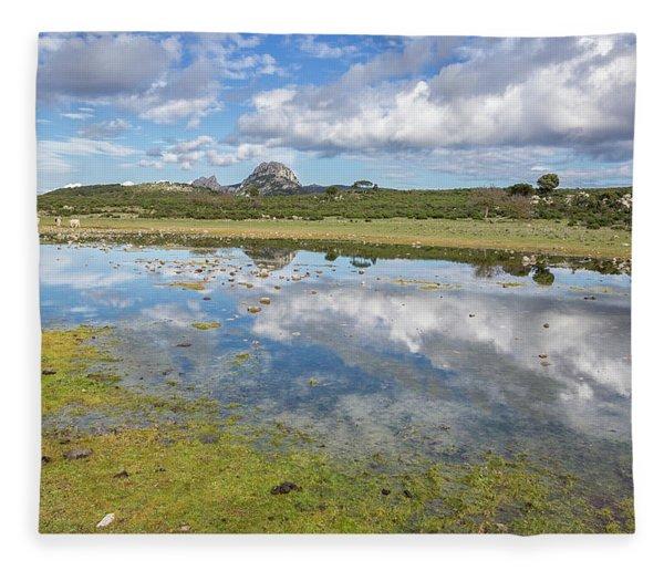 Reflected Mountains Fleece Blanket