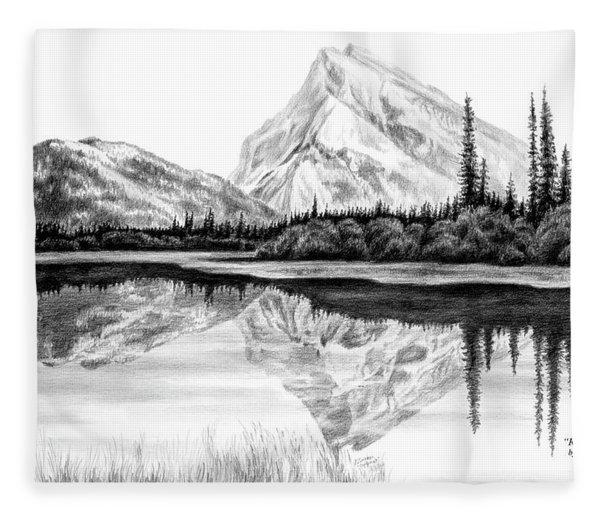 Reflections - Mountain Landscape Print Fleece Blanket