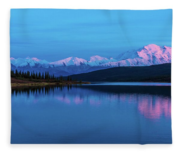 Sunset Reflections Of Denali In Wonder Lake Fleece Blanket