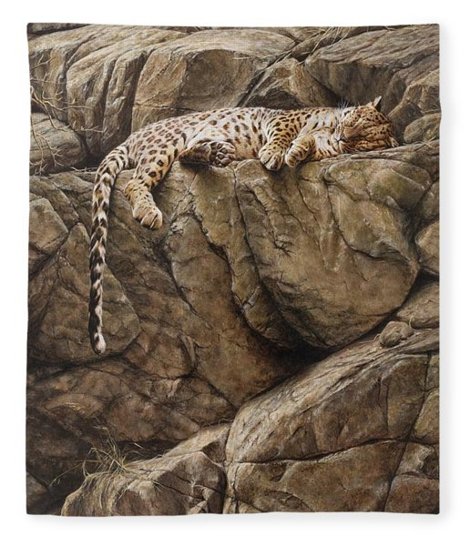 Fleece Blanket featuring the painting Resting In Comfort by Alan M Hunt