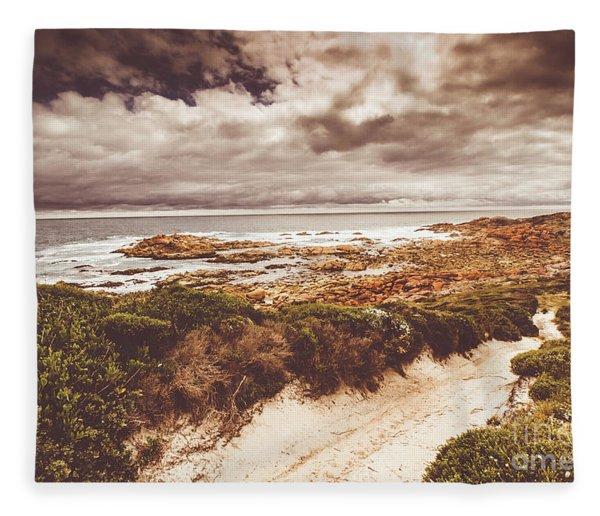 Retro Beach Tracks Fleece Blanket