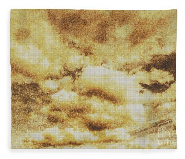 Retro Grunge Cloudy Sky Background Fleece Blanket