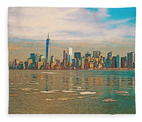 Retro Style Skyline Of New York City, United States Fleece Blanket