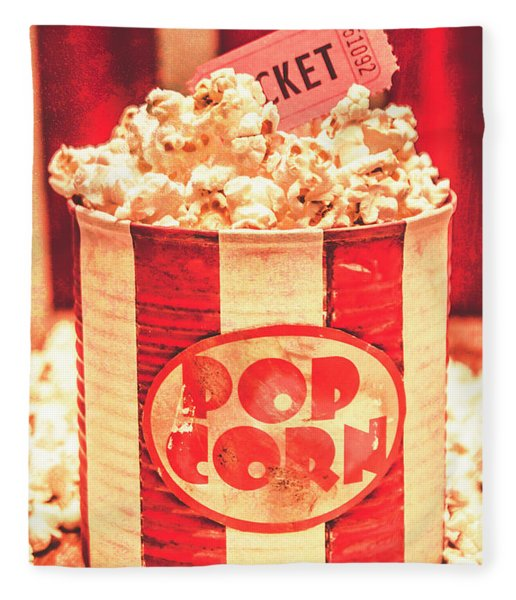 Retro Tub Of Butter Popcorn And Ticket Stub Fleece Blanket