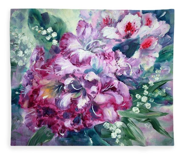 Rhododendron And Lily Of The Valley Fleece Blanket