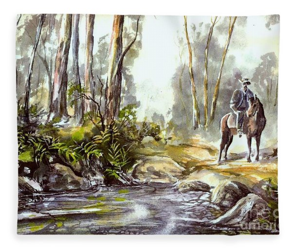 Rider By The Creek Fleece Blanket