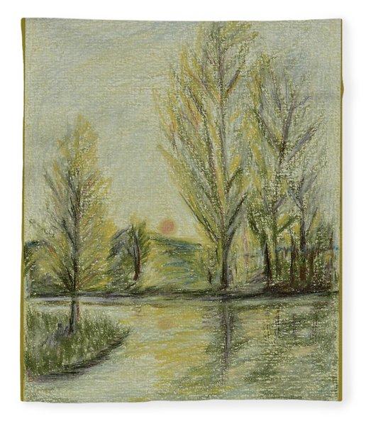 Rising On Country Pond Fleece Blanket