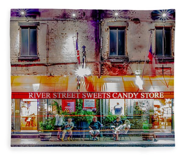 Fleece Blanket featuring the photograph River Street Sweets Candy Store Savannah Georgia   by Alex Grichenko