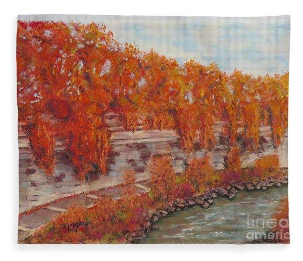 River Tiber In Fall Fleece Blanket