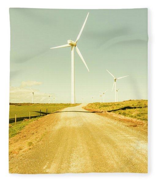 Road To Green Farming Fleece Blanket