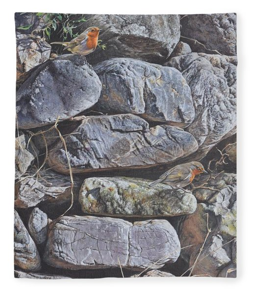 Fleece Blanket featuring the painting Robins by Alan M Hunt