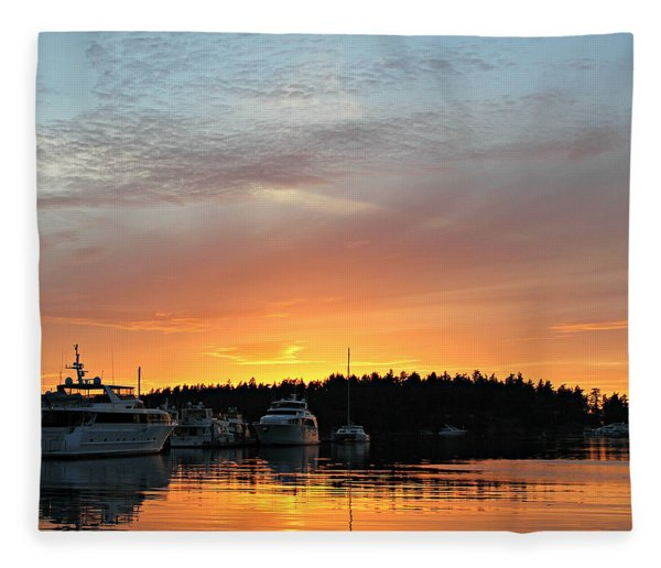 Roche Harbor Sunset Fleece Blanket