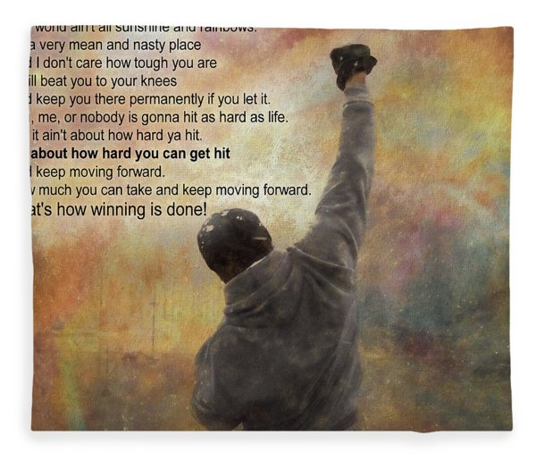Rocky Balboa Inspirational Quote Fleece Blanket