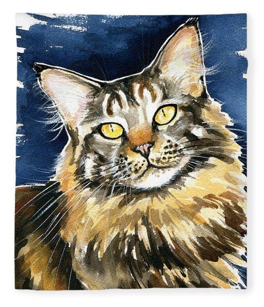 Ronja - Maine Coon Cat Painting Fleece Blanket
