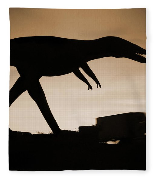 Route 66 - Lost Dinosaur  Fleece Blanket