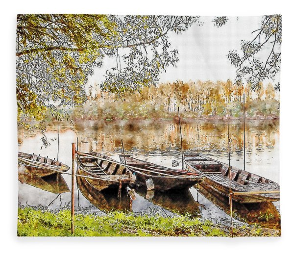 Rowing Boats And Punts On The Loire France Fleece Blanket