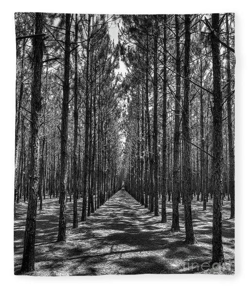 Rows Of Pines Vertical Fleece Blanket