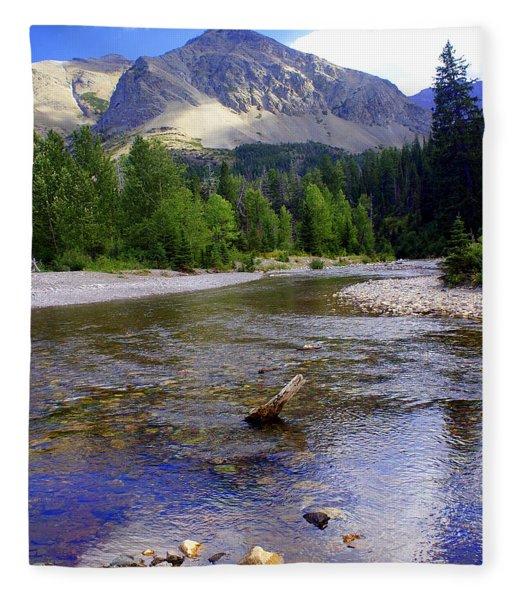 Running Eagle Creek Glacier National Park Fleece Blanket