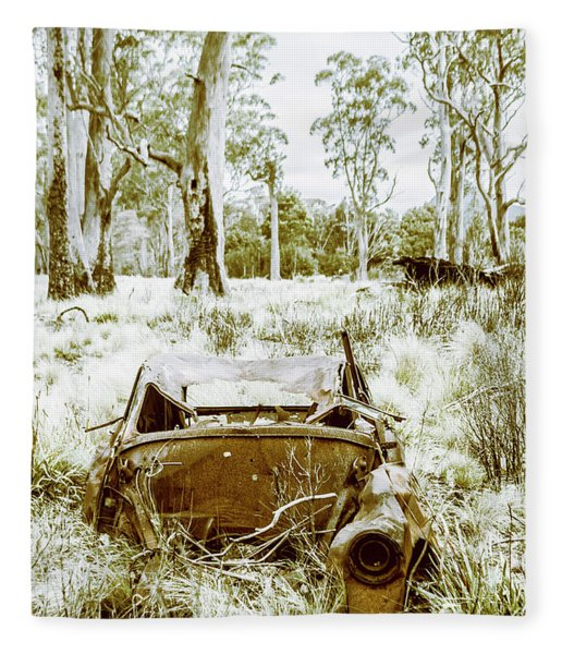 Rustic Australian Car Landscape Fleece Blanket
