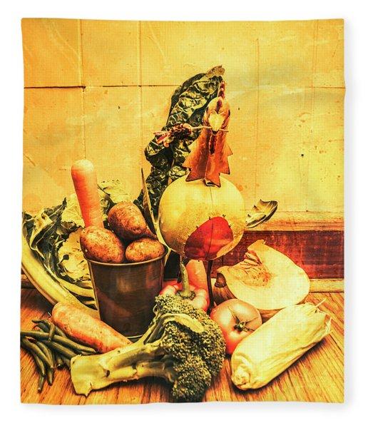 Rustic Vegetable Decor Fleece Blanket