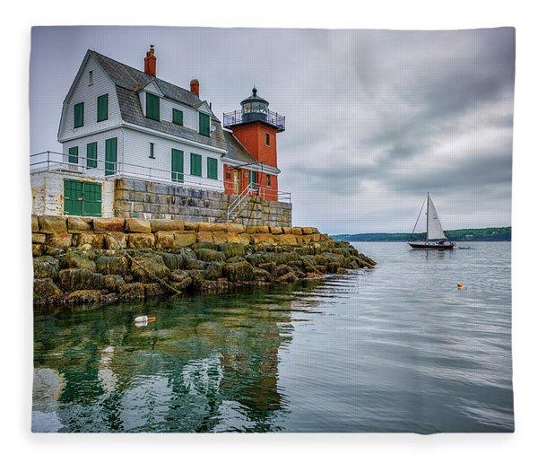 Sailing Past The Breakwater Fleece Blanket