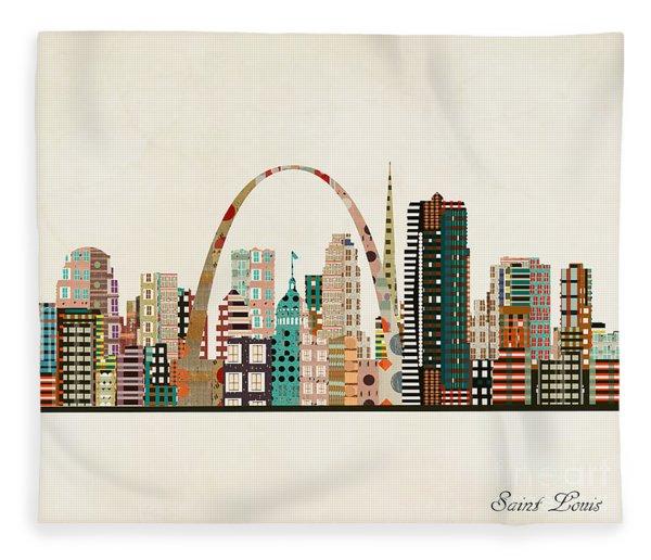 Saint Louis Skyline Fleece Blanket