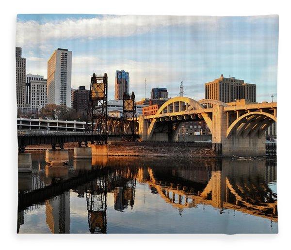 Saint Paul Mississippi River Sunset Fleece Blanket