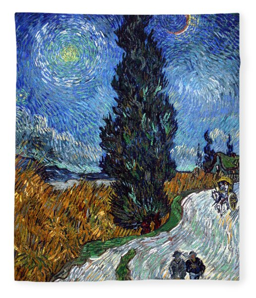 Saint-remy Road With Cypress And Star Fleece Blanket