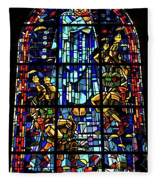 Sainte-mere-eglise Paratrooper Tribute Stained Glass Window Fleece Blanket