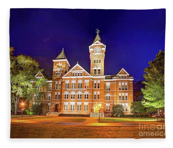 Samford Hall At Night Fleece Blanket