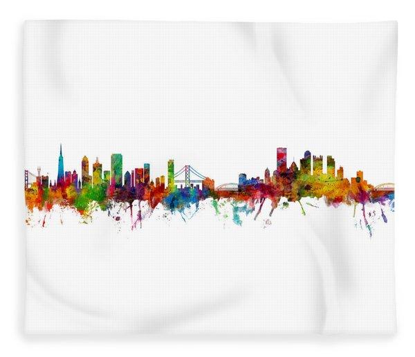 San Francisco And Pittsburgh Skylines Mashup Fleece Blanket