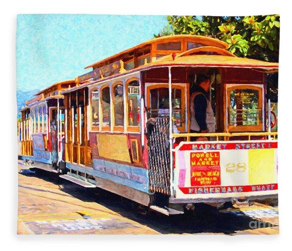 San Francisco Cablecar At Fishermans Wharf . 7d14097 Fleece Blanket
