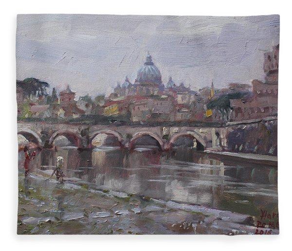 San Pietro In A Rainy Day Rome Fleece Blanket