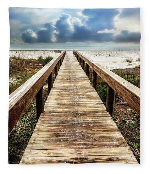 Sandy Boardwalk On The Dunes Fleece Blanket