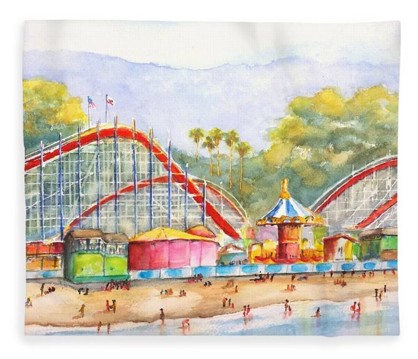 Santa Cruz Beach Boardwalk Fleece Blanket