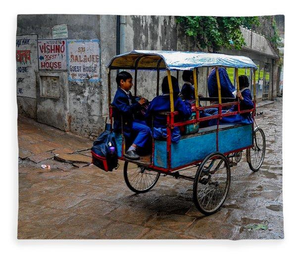 School Cart Fleece Blanket