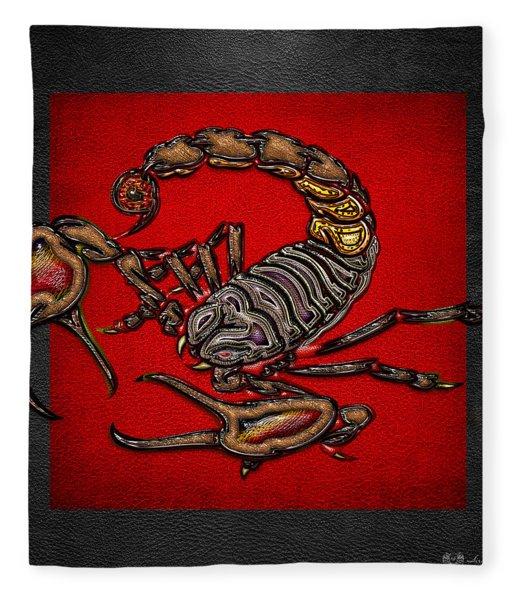 Scorpion On Red And Black  Fleece Blanket