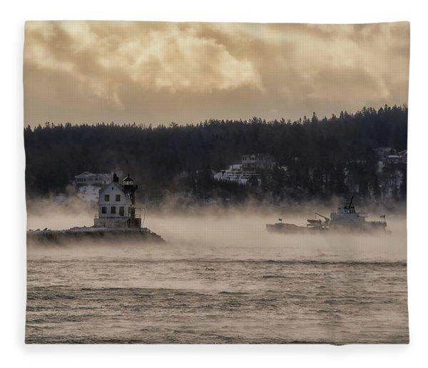Sea Smoke At Rockland Breakwater Light Fleece Blanket