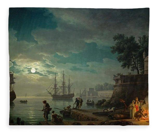 Seaport By Moonlight Fleece Blanket