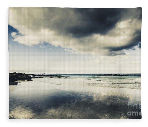 Seas And Storm Cloud Reflections Fleece Blanket