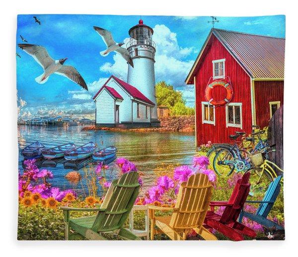 Seaside Invitation At The Harbor Painting Fleece Blanket