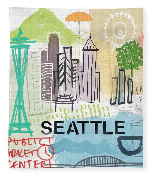 Seattle Cityscape- Art By Linda Woods Fleece Blanket