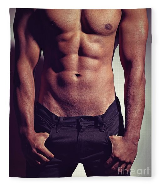 Sexy Male Muscular Body Fleece Blanket