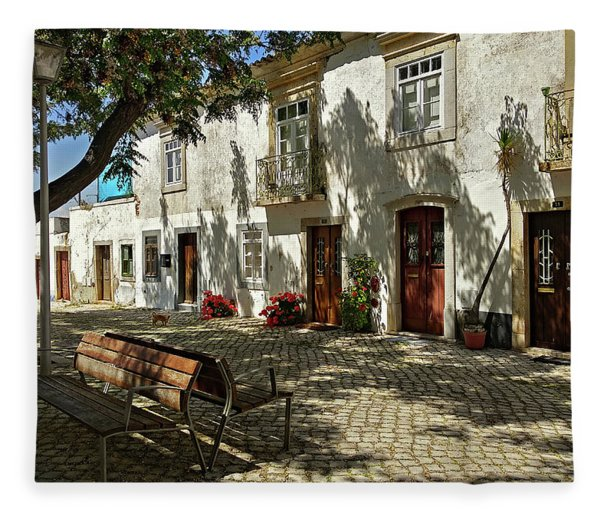 Fleece Blanket featuring the photograph Shady Street In Tavira, Portugal by Barry O Carroll