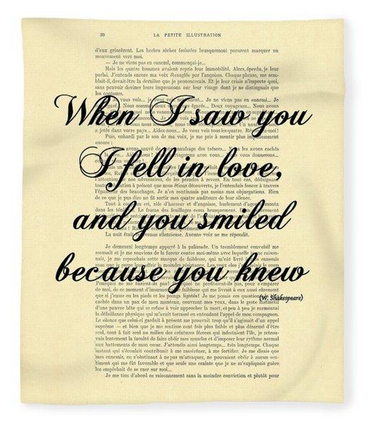 Shakespeare Quote Fleece Blanket