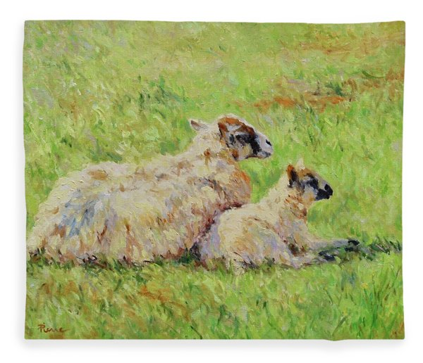 Sheep In The Spring Time,la Vie Est Belle Fleece Blanket