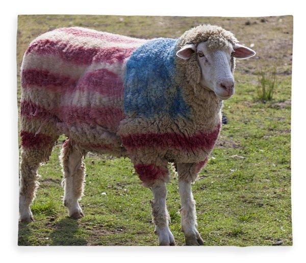 Sheep With American Flag Fleece Blanket