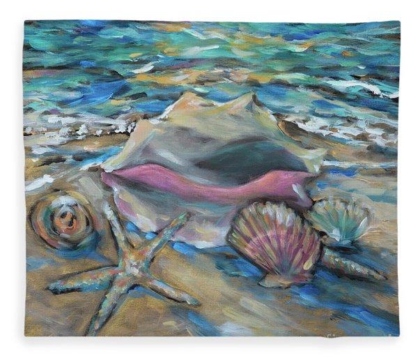 Shells At Tide Fleece Blanket